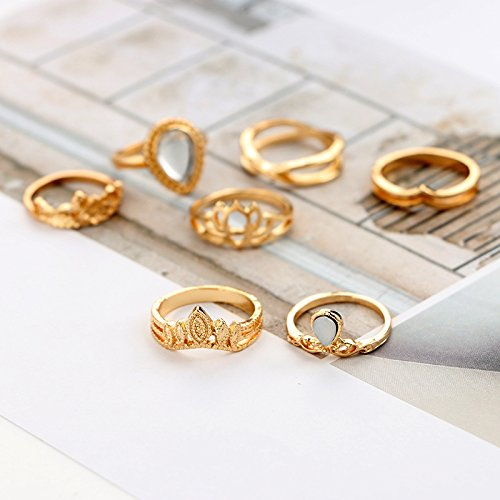 Wal front 7pcs/set Retro Alloy Flower Decoration Plating Jewelry Round Rings Set(Gold)