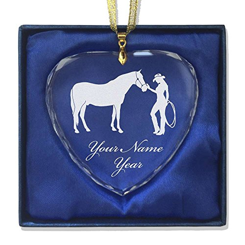 Rodeo Christmas Ornament (Heart Crystal Christmas Ornament - Horse and Cowgirl - Personalized Engraving Included)