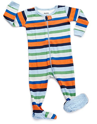 (DinoDee Footed Pajama Sleeper 100% Cotton Striped B 6-12 Months)