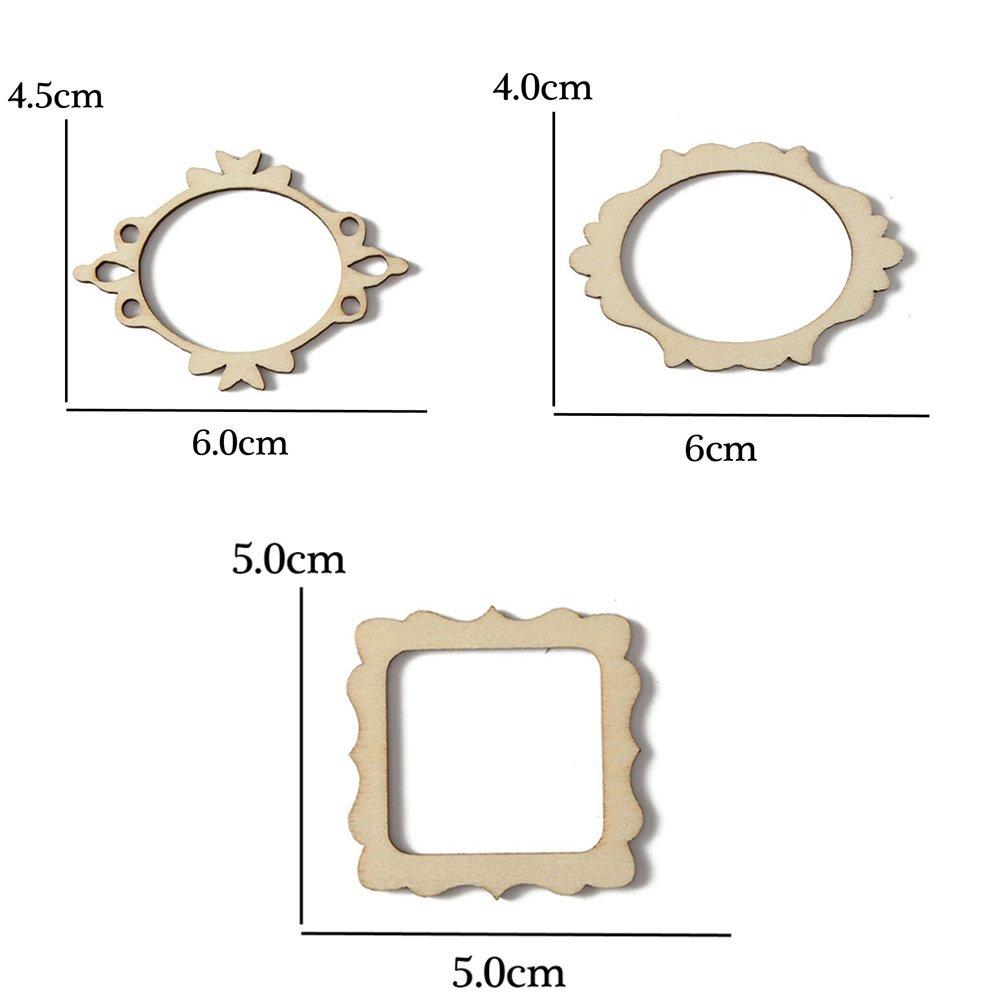 Zaofahua Pendentif De No/ël Scrapbooking Ornements en Bois Mur Carte Carte D/écor Artisanat Cadre Sculpt/é Embellissement 30pcs Set 3 Types