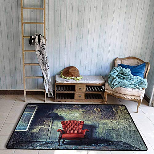 Bath Rug 3D Digital Printing pad Antique Old Armchair Floor Lamp in Grunge Interior Damaged Messy Abandoned House Hard and wear Resistant W47 xL71 Pale Green Red Black
