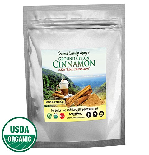 Organic Ceylon Cinnamon Powder, 8.8 oz, True Cinnamon from Ceylon, Ground Fresh Premium Grade w/ E-Book (Cinnamon Organic Honey)