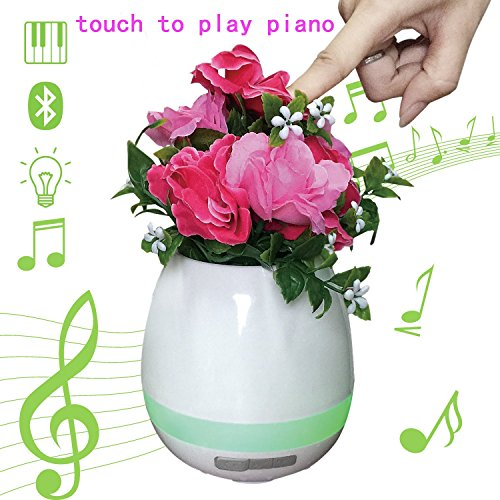 Music Flower Pot with Bluetooth Speaker and Colorful Night Light Play Piano on Real Plant by Touching 2017 New Gift (white)