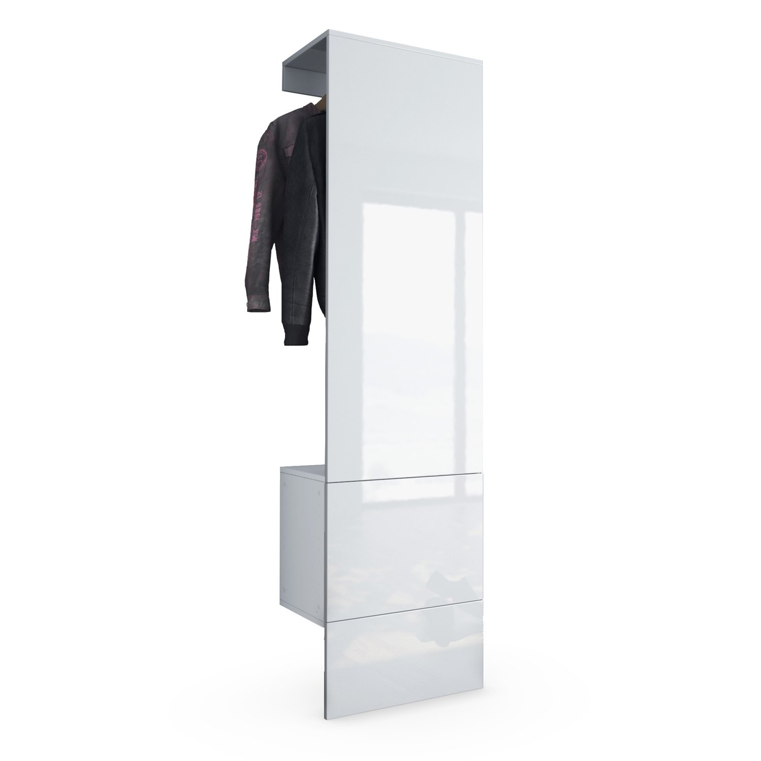 vladon wardrobe hallway furniture coat rack carlton set 5 carcass in white matt panel in white
