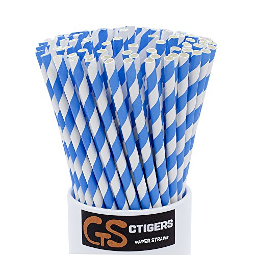Sea Blue Striped Drinking Paper Straws for Birthday Party Wedding Baby Shower Biodegradable Straw Box of 100