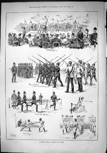 Antique Print of Sporting Dramatic News 1884 Victoria Rifles Assault Arms Soldiers Vaulting Horse