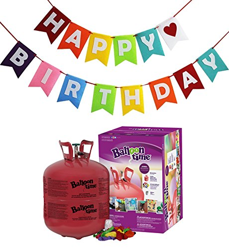 Balloon Time Disposable Helium Tank 14.9 cu.ft - 50 Balloons and Ribbon Included by Blue Ribbon + Colorful Happy Birthday Banner -