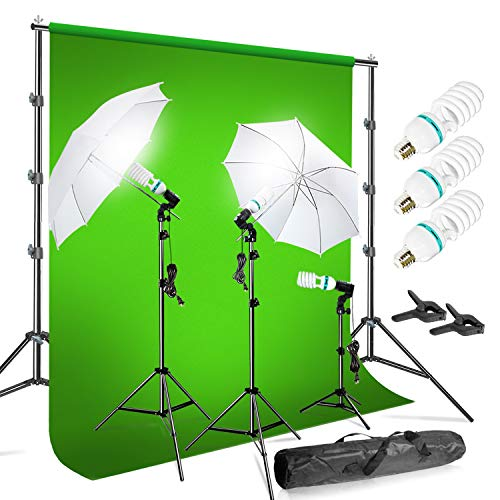 LimoStudio Photo Video Chromakey Green Screen Background Support System with 10' x...