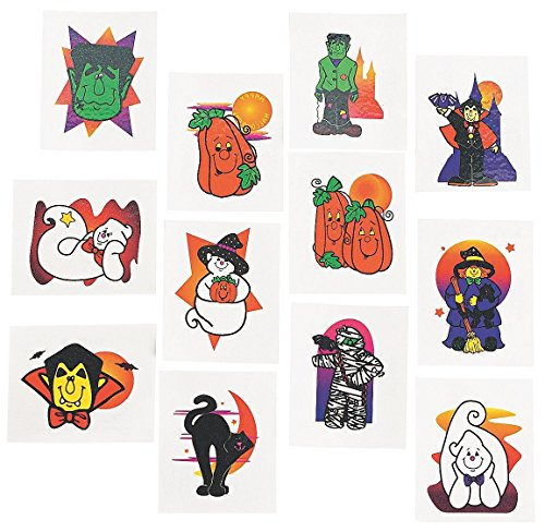 (Fun Express Glitter Temporary Halloween Tattoos | 2-Pack (144 Count) | Great for Home and Party)