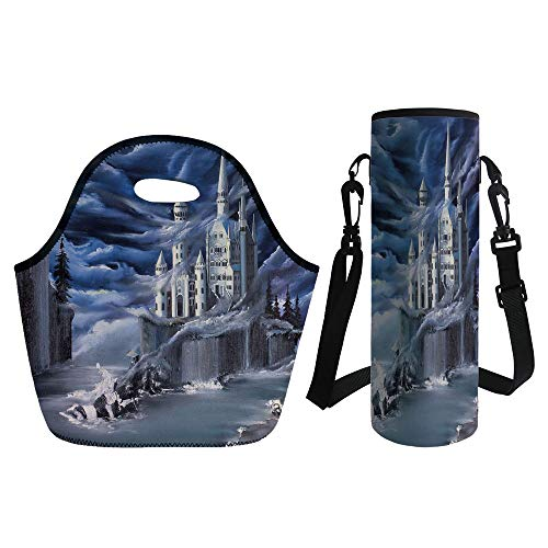 3D Print Neoprene lunch Bag with Kit Neoprene Bottle Cover,Fantasy,Island with Ancient Castle Full Moon Cloudy Dramatic Sky Foggy Weather,Dark Blue Grey White,for Adults ()
