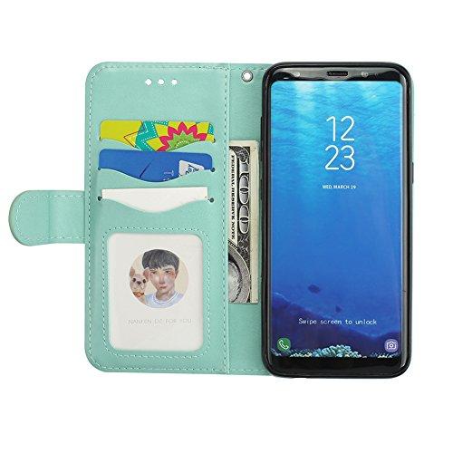 Hülle für Samsung Galaxy S8 Plus Grün,[Nicht für S8] Hülle für Samsung Galaxy S8 Plus Flamingo,BtDuck Ultra Slim Tasche Glitzer Design Brieftasche Handyhülle Ledertasche Flip Cover Schutzhülle für Sam Galaxy S8 Plus-Grün