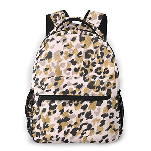 Pink Gold Leopard Print Backpacks For Girls Preschool Bookbags Girly Rucksack Toddler Backpack Travel Daypack Back To School Bags For Kids Childrens Teen ()
