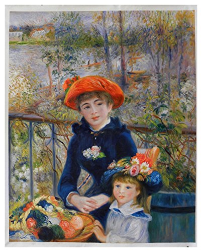 (Two Sisters (On the Terrace) - Pierre-Auguste Renoir hand-painted oil painting reproduction,beautiful charming girls portraits in landscape)
