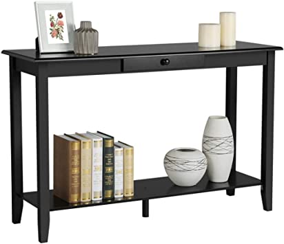 Amazon.com: Yaheetech Wood Console Table with Drawer and Shelf 2