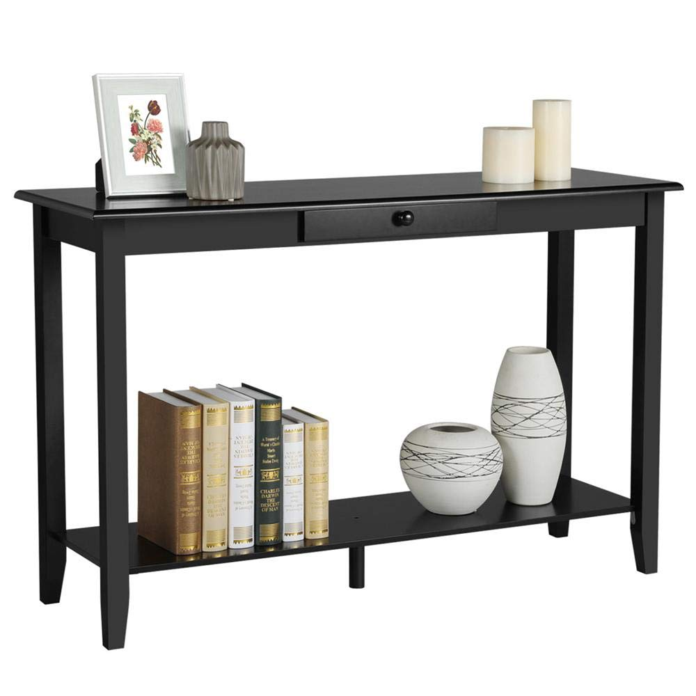 Yaheetech Wood Console Table with Drawer and Shelf 2 Tier Black Hall Table Entryway Table