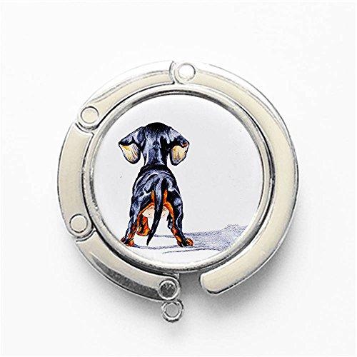 RhyNSky Animal Dachshund Puppy Dog Round Folding Foldable Handbag Hook Purse Hanger Holder for Table & Desk, ()