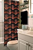 Cincinnati Bengals COMBO Shower Curtain, Matching Shower Curtain Rings & Set of (Four) Appliqué Bath Towels with Team Logo - Decorate your Bathroom & SAVE ON BUNDLING!