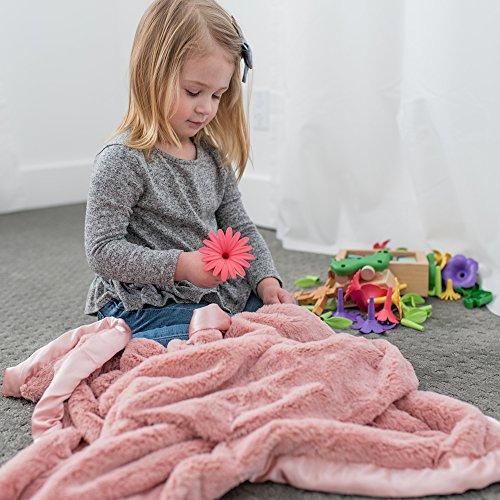 Super Soft Plush Satin Border Baby Receiving Blankets, Pink (Satin Baby Soft Blanket Girl)