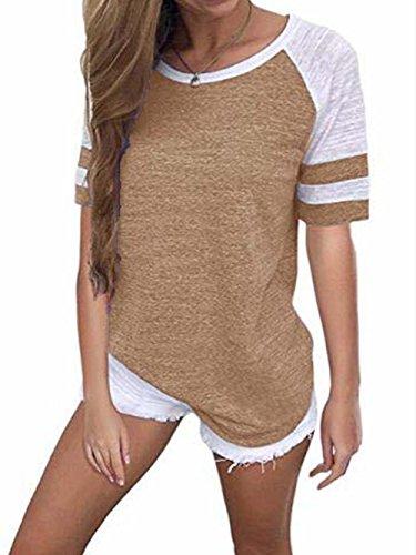 Famulily Women's Casual Tops Short Sleeve Ragan Baseball Tee Crew Neck Colorblock Tshirt(#2 Khaki,Meidum)