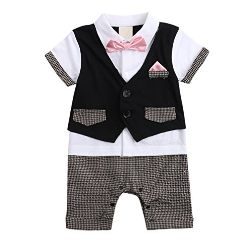 Baby Boys Outfits, Toddler Short Sleeve Romper Clothing with Plaid Cap & Vest (80(6-12 Month), black-pink)
