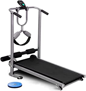 HSART 4 in 1 Folding Mechanical Treadmill Non-Motorized Easy Assembly Running Machine for Home Use