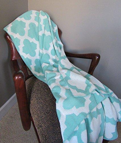 Teal Trellis Knitted Throw Blanket