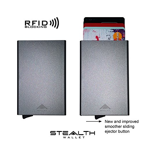 Grey STEALTH by clip Aluminium Blocking IMPROVED Blue with 2018 JUNE MODEL Ejector RFID Holder Card Wallet money v4 Credit Ux8Wxnwg