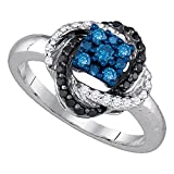10k White Gold Blue & Black Diamond Flower Love Circle Ring Fashion Love Band Round Cluster Style 1/2 ctw Size 7.5