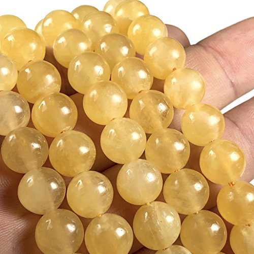 [ABCgems] Moroccan Golden Selenite AKA Honey Calcite (Exquisite Color- Grade AA) 8mm Smooth Round Beads for Beading & Jewelry Making