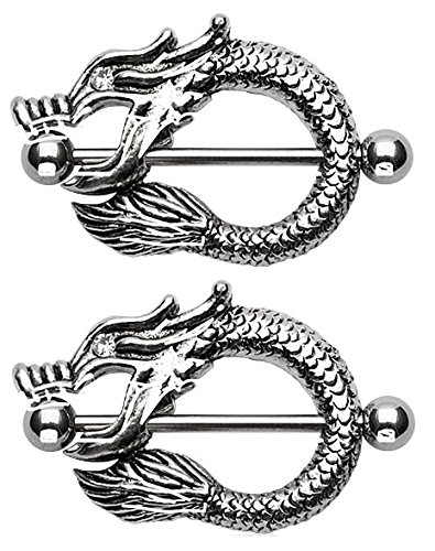Dragon Fire Mouth - Nipple Shield Bar Barbell 14g - Sold as a (Dragon Nipple Shields)
