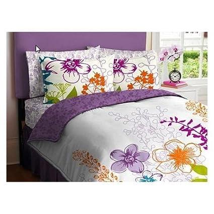 Amazon purple green orange white girls multi flower full purple green orange white girls multi flower full comforter set 7 piece mightylinksfo
