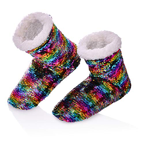 (RONGBLUE Women's Christmas Reversible Sequin Slippers Soft Warm Fleece Lining Non-Slip Shoes Winter Boots (S / 6-8 M US Womens, Colorful))