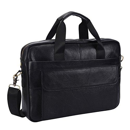 Leather Briefcase Laptop Bag Messenger Shoulder Work Bag Crossbody Handbag for Business Travelling Christmas for Men (BFC-Black)