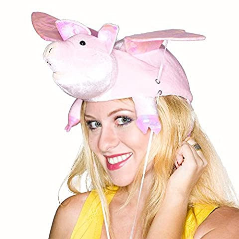 Flapping Wing Pig Hat - Pink Pig Hat