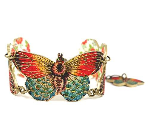 Antique Butterfly Bracelet - Orange Butterfly Bracelet