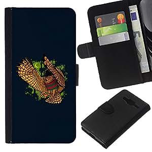 Protector de cuero de la PU de la cubierta del estilo de la carpeta del tirón BY RAYDREAMMM - Samsung Galaxy Core Prime - DIVERTIDO NIGHT OWL