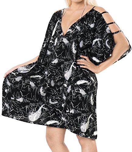 LA LEELA Soft fabric Printed Swimsuit Cover Up OSFM 16-20 [XL-2X] Black_6609 by LA LEELA (Image #3)