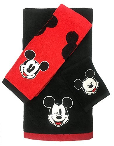Disney Mickey Mouse 3 Piece Cotton Bath Towel Set (Official Disney Product) by Disney