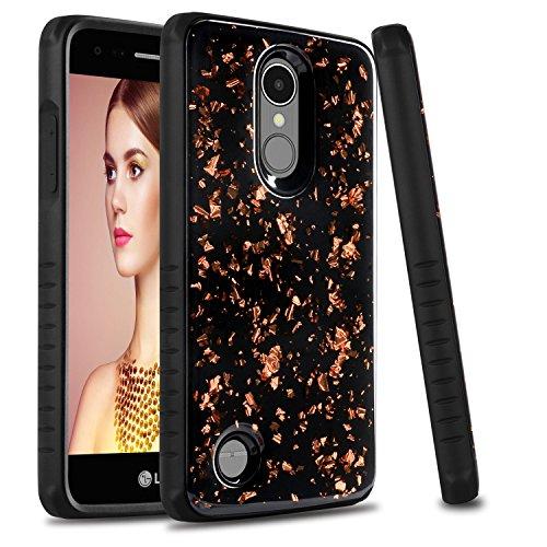 LG K8 2017 Case, LG LV3 Case, LG Aristo Case, LG Fortune 2 Case, Zenic 2 in 1 Hybrid Glitter Bling Sparkle Quicksand Bumper Shockproof Protective Case for LG Rebel 3/LG Zone 4 (Rose Gold/Black) ()