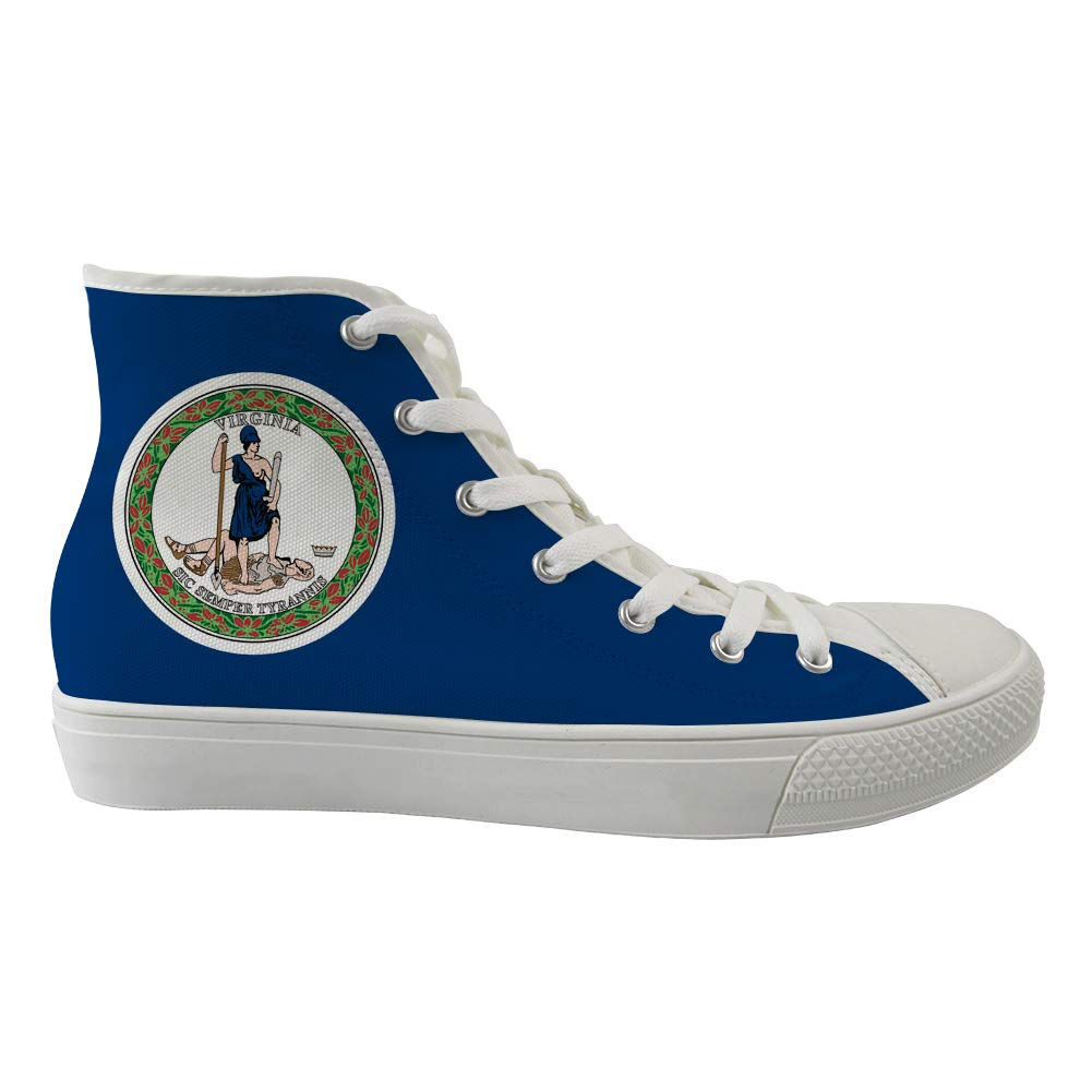 Unisex Casual High-Top Skate Shoes Classic Sneakers Adults Trainers Virginia Flag