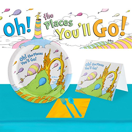 BirthdayExpress Dr. Seuss Oh The Places You'll Go Ultimate Graduation Experience 48 Guest Party Supplies Pack