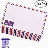 Bolbove Set of 100 AirMail Cute Retro Kraft Paper Postcard Letter Envelopes Invitations (White 100 Pcs)