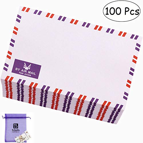 Bolbove Set of 100 AirMail Cute Retro Kraft Paper Postcard Letter Envelopes Invitations (White 100 Pcs)]()