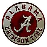Gear New University of Alabama Crest 3D Vintage Metal College Man Cave Art, Large, Silver/Crimson/Red/White