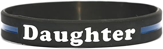 SayitBands Grandpa Thin Blue Line Silicone Wristband Bracelets Police Officers Patrol Awareness Support