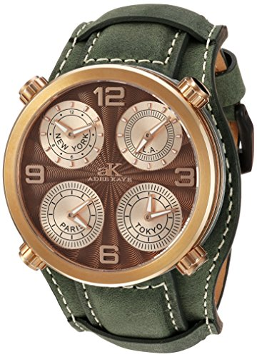 Adee Kaye Men's Quartz Stainless Steel and Leather Dress Watch, Color:Green (Model: AK2275-RGBN/ GN-Wide)
