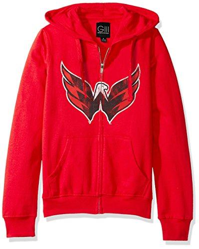 (GIII For Her NHL Detroit Red Wings Women's Wildcat Full Zip Hoodie, Medium, Red)