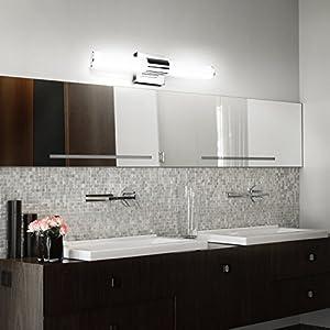 ECOBRT 17.7 inch 10W LED Vanity Lights Fixtures Stainless Steel Cool White Light 6000K IP44 Modern Bathroom Vanity Mirror Front Lights fixtures