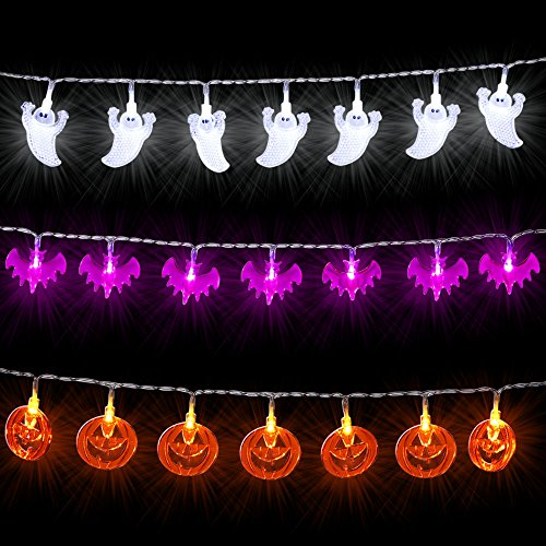 Icicle Halloween String Lights, Set of 3 Battery-Powered Jack-O-Lantern Decorative Lights for Indoor/Outdoor Decorations White Ghosts, Orange Pumpkins, Purple Bats (Scary Halloween Light Show)