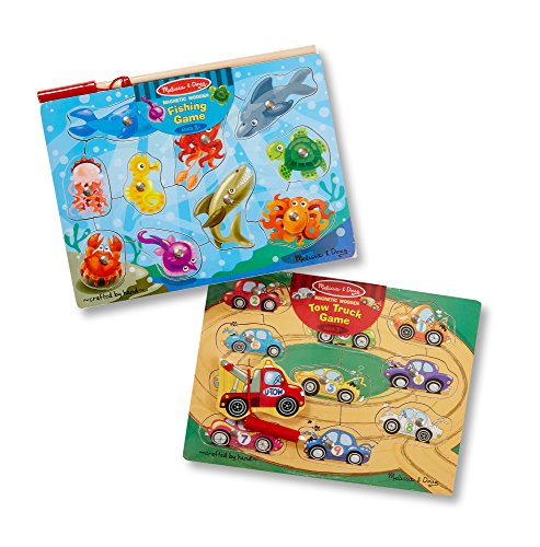 Melissa & Doug Magnetic Fishing & Tow Truck Games Bundle